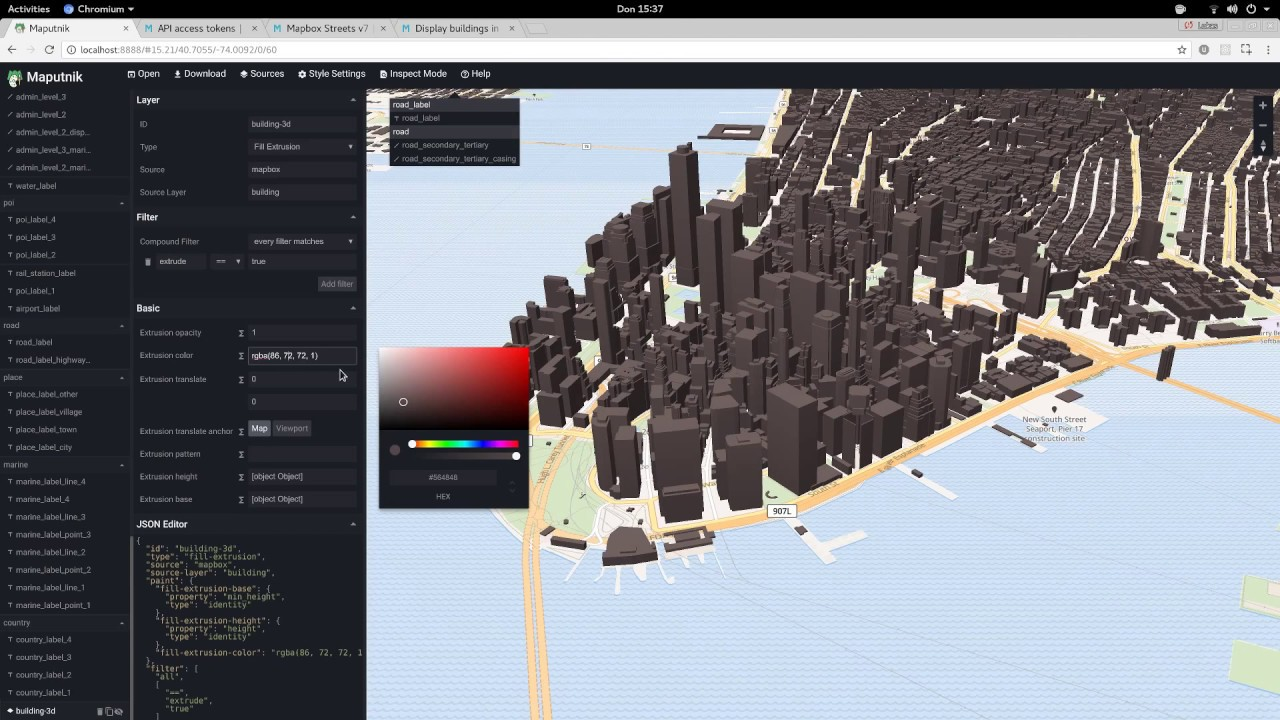 Maputnik - Add 3D support to Styles from Mapbox Studio