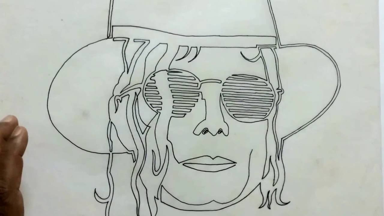Line Drawing Cartoon Face : Best single line drawing of michael jackson the great legendary