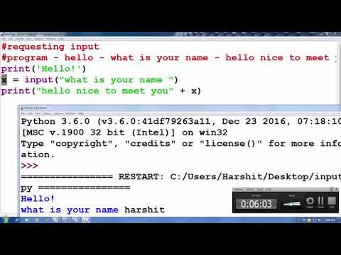 Python tutorial in Hindi 13 : Requesting Input (Input function ) thumbnail