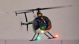 HUGHES 500 E ALIGN TREX RC SCALE MODEL HELICOPTER INDOOR FLIGHT DEMONSTRATION