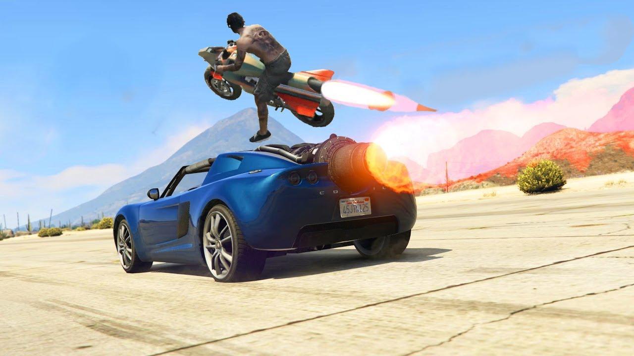 Gta V Insane Rocket Car Vs Rocket Bike Who Wins Youtube