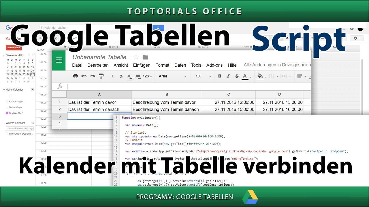 Google Kalender mit Tabelle verknüpfen (Google Tabellen ...