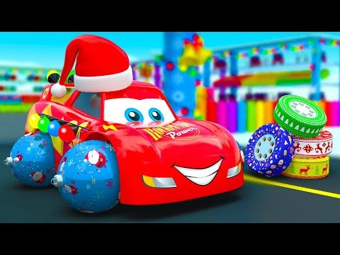 Mcqueen Change Tires and got New Holiday Wheels - New Christmas Fair Story with Little Cars