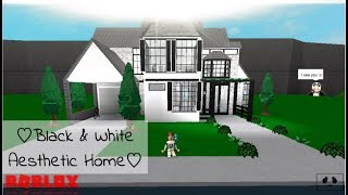 Black & White Aesthetic Home : Speed build- ROBLOX | Bloxburg |