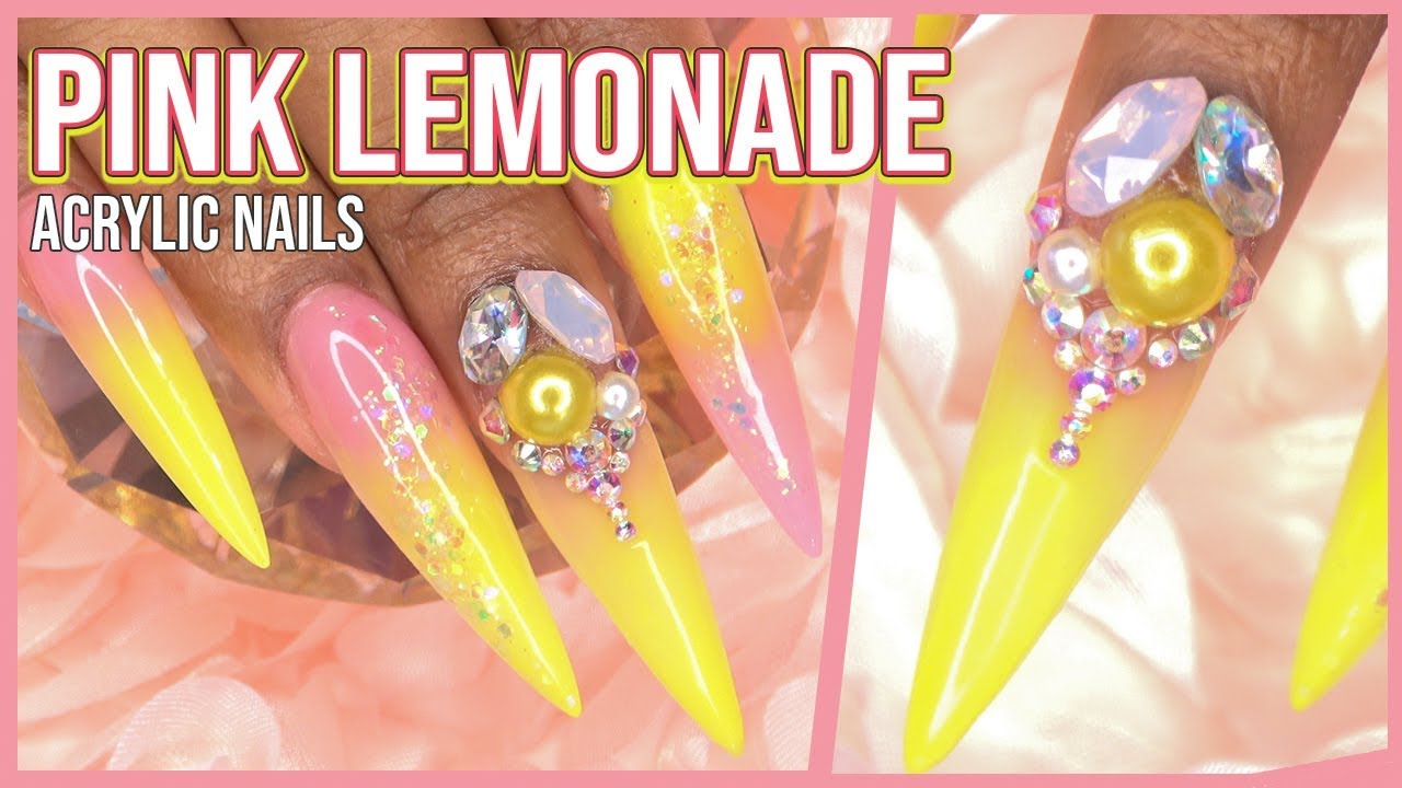 Pink Lemonade Acrylic Nails | Full Set with Nail Tips | LongHairPrettyNails