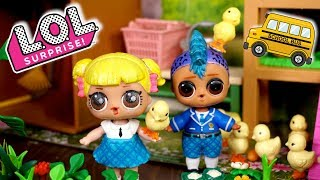LOL Doll Family School Field Trip at The Barbie Farm With Baby Goldie & Punk Boi
