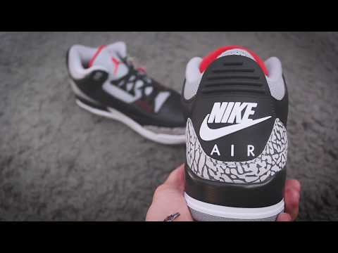 "2018 Air Jordan Retro 3 ""Black Cement"" Unboxing & Detailed Look"
