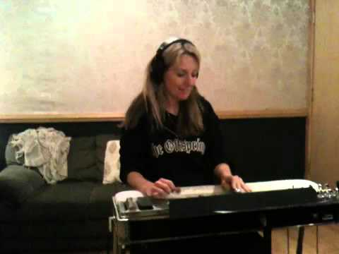 Robin Ruddy playing pedal steel at The Parlor Studio in Nashville TN 615 385-4466