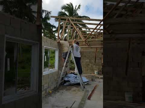 Off grid living in Tonga Eua island putting on the roof in 2 days