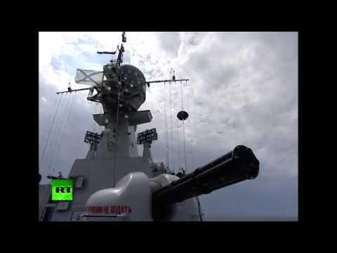 Морские учения кораблей Каспийской флотилии