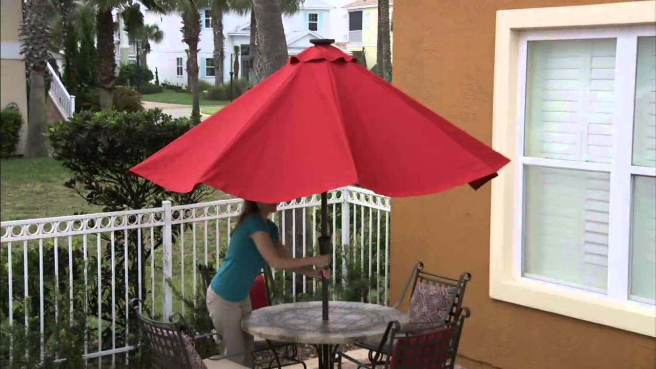 ATLeisure 9u0027 Turn 2 Tilt Patio Umbrella W/ 52 Solar LED Lights U0026 Cover On  QVC