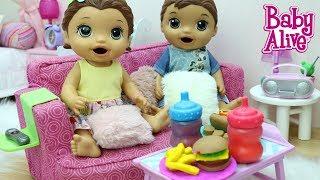 BABY ALIVE LAURINHA E FELIPINHO COMENDO LANCHE DE MASSINHA PLAY DOH