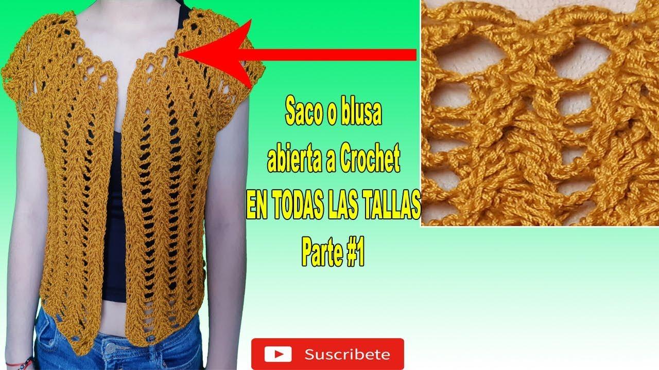 Como Tejer Blusa Abierta A Crochet Con Mangas 3 4 A Crochet Tejido A Ganchillo Youtube Crochet Vest Crochet Blouse Crochet