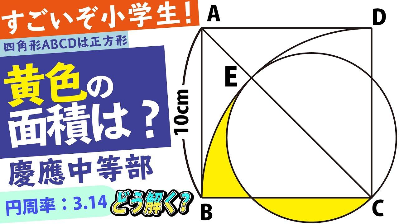 【面白い算数問題】どう解く??中学受験 算数 平面図形 慶應中等部