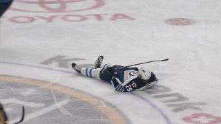 McCabe hits Laine, super slow motion, 3 different angles
