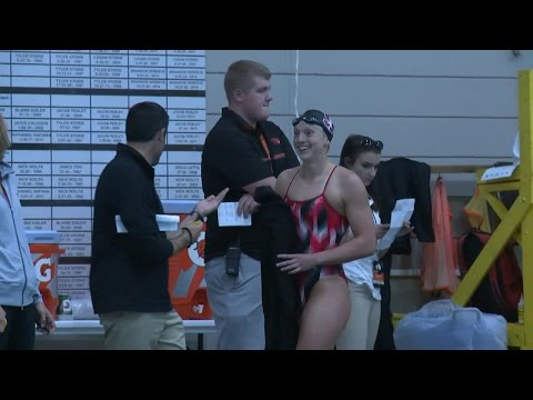 Stanford's Katie Ledecky wins first collegiate events in front of sold out crowd