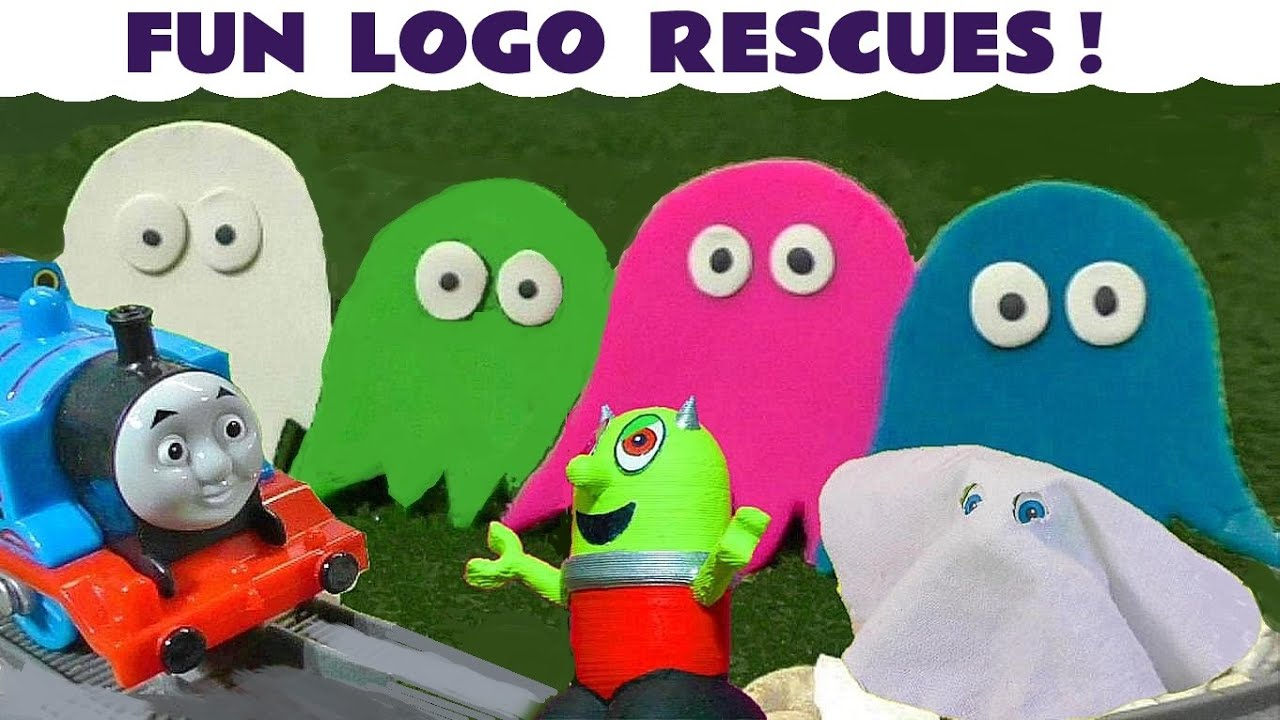 Spooky Thomas The Tank Engine Ghost Logo Rescues with Funlings
