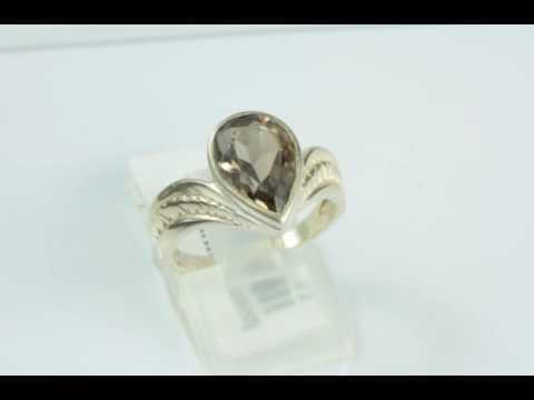 Кольцо оправа серебро 925, вставка раухтопаз (дымчатый кварц)