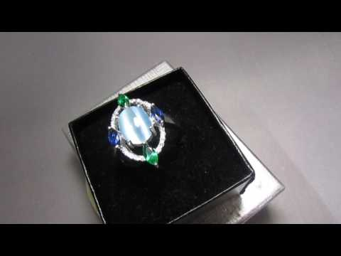 серебряное кольцо с камнем кошачий глаз