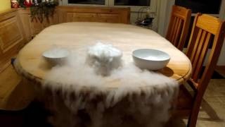 Pouring boiling water over dry ice.