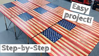 Most In Depth Wood American Flag Build | Make Money Woodworking! | How To