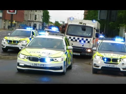 High Security ARMED POLICE Prison Convoy transporting prisoners from HMP Strangeways
