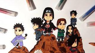 Uchiha Clan (Itachi, Obito, Madara, Shisui, Kagami, Fugaku, Izuna, Izumi,Mikoto) Chibi Speed Drawing