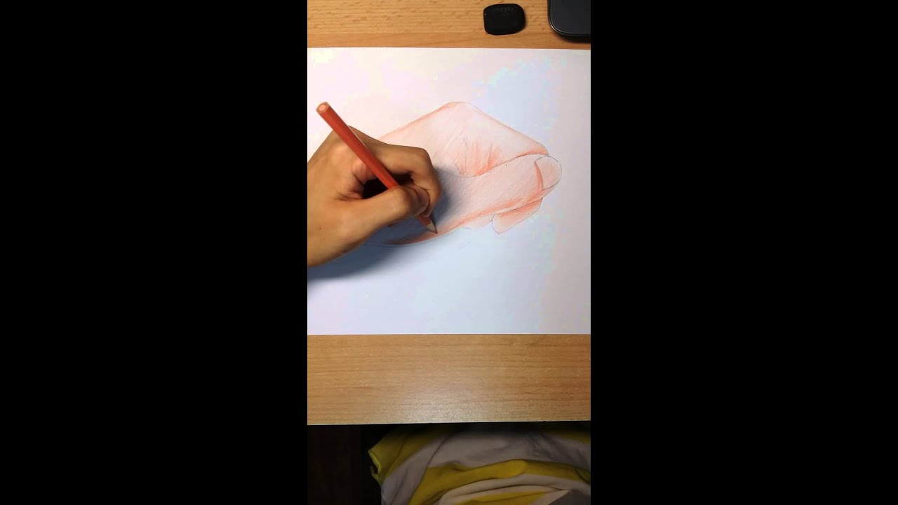 Demonstration of how to colour a hand using colour pencils by Tay ...