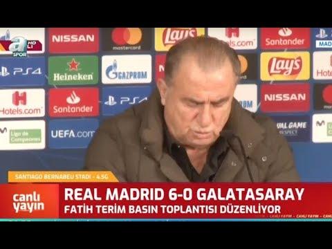 Real Madrid 6 - 0 Galatasaray Fatih Terim Maç Sonrası Basın Toplantısı Düzenledi / A spor