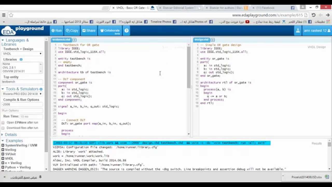 Online VHDL code editor,simulator,synthesis