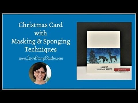 🔴 Christmas Card with Masking & Sponging Technique