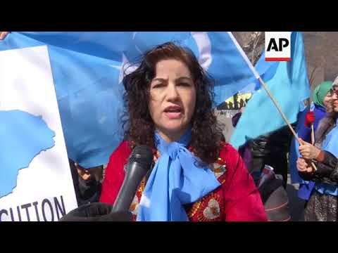 (15 Mar 2018) More than a hundred members of the Uighur Muslim ethnic group held a demonstration outside the United Nations on Thursday to protest a sweeping Chinese surveillance and security campaign that has sent thousands of their people into detention and political indoctrination centers.