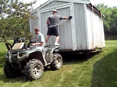 Move A Shed With Trailer And 4 Wheeler Youtube