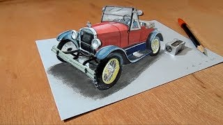 The Legendary Ford Car Illusion - Drawing 3D Trick Art on Paper - VamosART