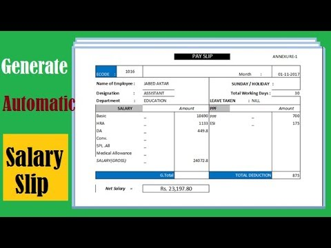 Automatic Salary slip generator using Excel Use VLOOKUP Excel