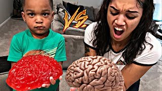 REAL FOOD VS GUMMY FOOD! GROSS GIANT CANDY CHALLENGE - BEST CHEF MOMMY VS DJ EDITION