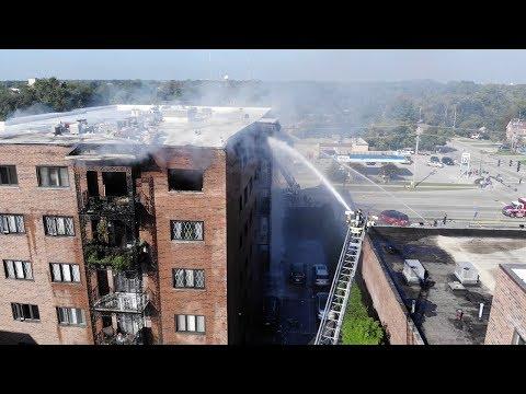 Des Plaines Fire At The Landings Condominium, Chicago Suburbs, Illinois - Drone Video