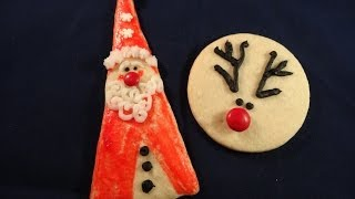 Triangle Santa And Simple Reindeer Cookies (almond Sugar Cookies) - With Yoyomax12