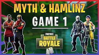Fortnite - UMG Tournament - Ninja and Me vs Myth & Hamlinz - Game 1 - June 2018 | DrLupo