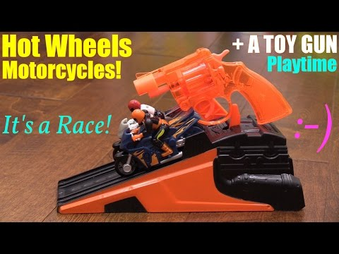 Hot Wheels Hyper Wheels Motorcycle Racing, A Toy GUN Unboxing and Real Sportbike