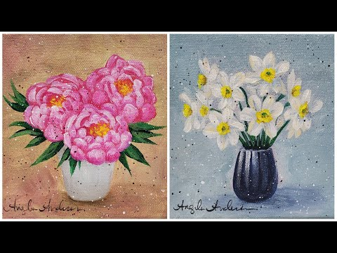 Easy Small Floral Canvas - Peony & Narcissus Acrylic Painting Tutorial