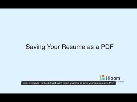 Saving Your Resume As A PDF