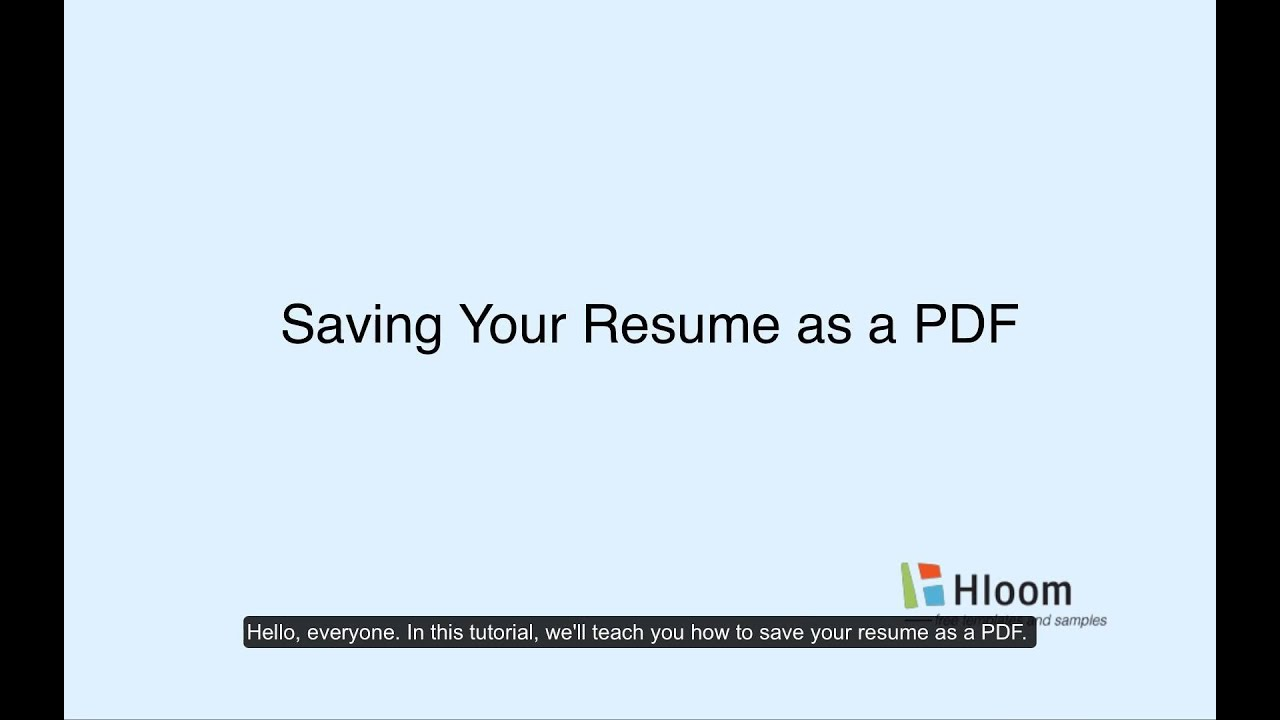 Saving Your Resume As A PDF - YouTube
