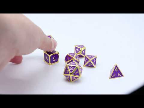 Beautiful purple gold margin metal dice set any color custom diy dnd rpg dices moq 100 pcs