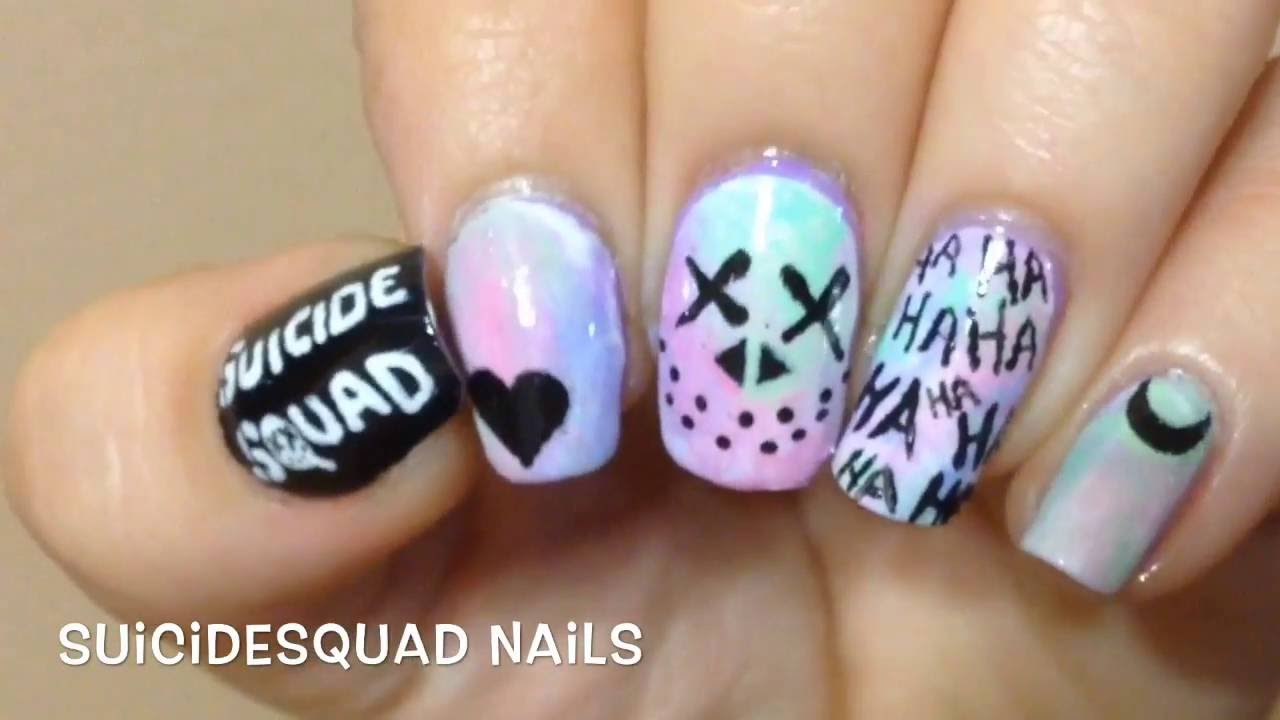 Suicide Squad Nails - YouTube