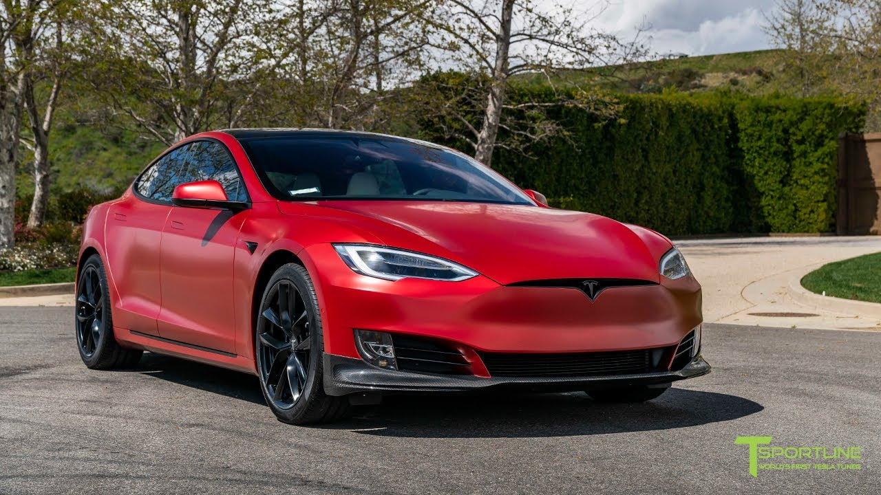 Black Tesla Model S goes Satin Vampire Red with NEW TSS Flow Forged Wheels