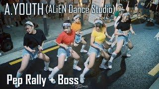 A.YOUTH (중학생 | ALiEN DANCE STUDIO) 홍대버스킹 [1440p/60fps] Pep Rally + Boss Choreography by Luna Hyun