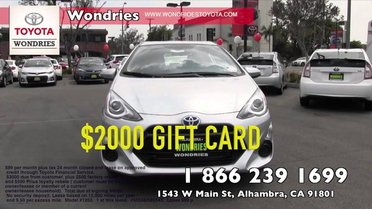 Wondries Toyota $99 Prius lease plus $2000 t card
