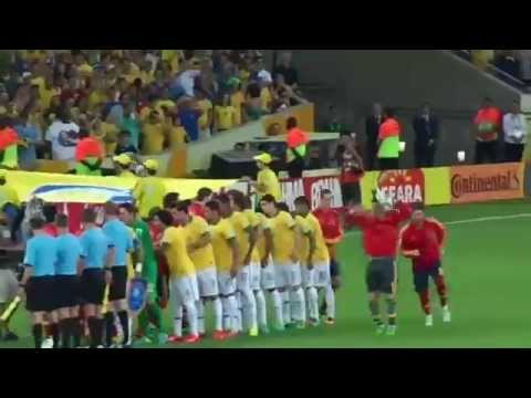 Confederations Cup Brazil 2013: Brasil 3 - 0 España (National Anthems - Live at Maracanã Stadium)