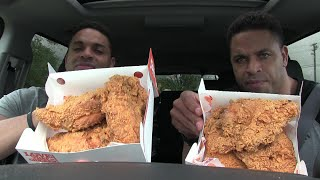 Eating 6 Spicy Popeye's Chicken Breast @hodgetwins
